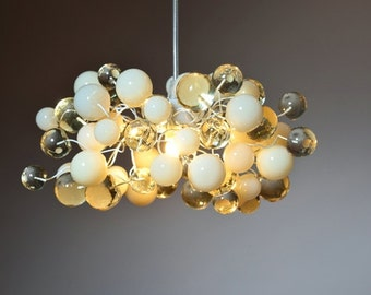 Ligthing. Ceiling Pendant Light with Transparent clear  and white color bubbles for desk, kitchen island