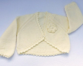 Baby girl hand knitted cream baby bolero cardigan to fit  3 to 6 months