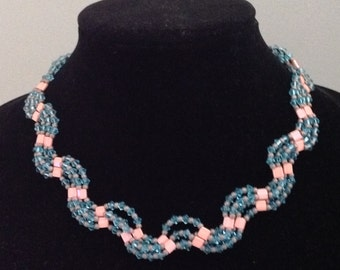 Turquoise and Peach Beadwork Wave Necklace