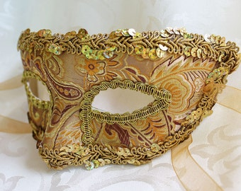 Gold Masquerade Mask, MADE TO ORDER Gold Paisley Brocade Masquerade Mask with Gold Trim