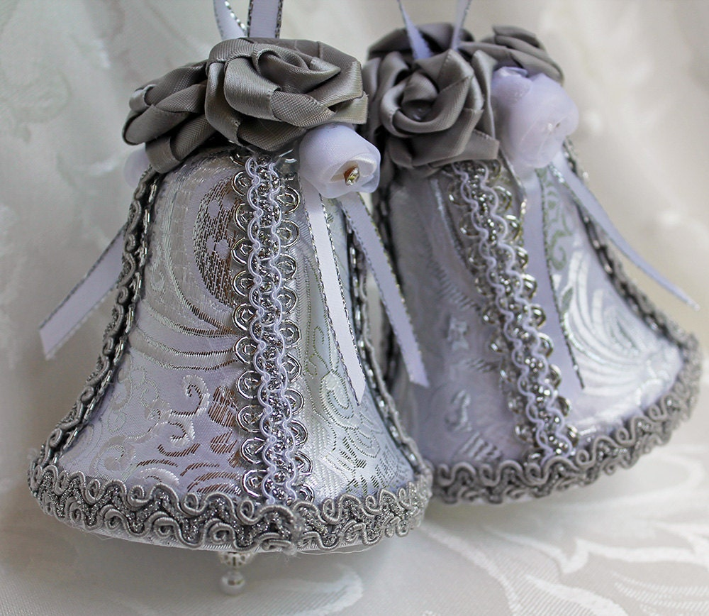 Matching Silver And White Brocade Wedding Bells Ornament