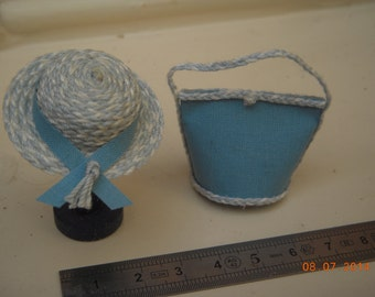 Hat or bag blue and white miniature 1/12th