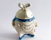 Blue And White Sugar Bowl With Lid, Novelty Sugar Bowl, Collectors Item