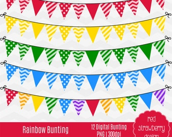 75% OFF Sale - Rainbow Bunting -  Digital Clip Art - Instant Download - PNG (CA126)