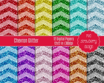 75% OFF Sale - Chevron Glitter - 12 Digital Papers - Instant Download - JPG 12x12 (DP171)