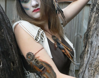 arm chain earthtone feather dreamcatcher arm chain  pheasant armlet  in tribal inspired tribal boho belly dancer and hipster style
