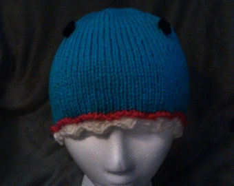 Hand Knit Small Shark Beanie