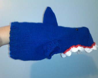 Hand Knit One-Size-Fits-Most Navy Blue Shark Costume for Cats or Small Dogs