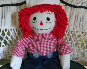 Traditional Raggedy Andy Doll 25 inches tall Personalized Handmade in USA
