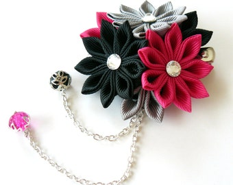 Kanzashi fabric flower hair clip. Black, grey and fushia.