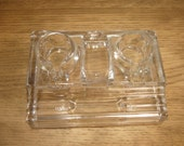 Vintage 1930s glass inkwell stand and pen holder