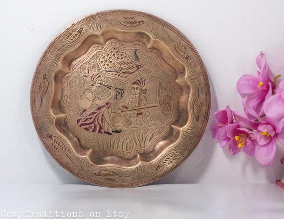 Decorative Wall Hanging Plate: Vintage Pakistani Brass Plate