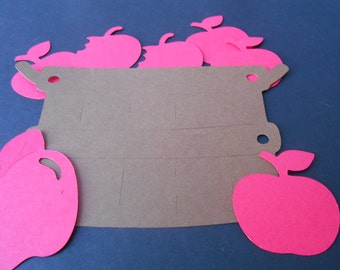 Basket And Apples Paper Die Cuts, fall,wedding,anniversary,birthday,school,place marker,table decoration