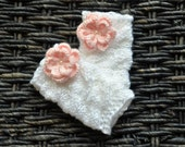 Newborn Cable Knitted Baby Girl Leg Warmers with a Crochet Flower
