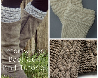Intertwined Cable Boot Cuff knit Pattern Tutorial