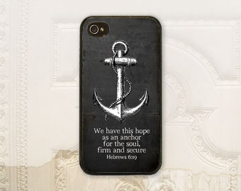 Christian phone case, Anchor phone case, Hebrews 6.19 iPhone 4 4S 5 5s 5C 6 6+ Plus, Samsung Galaxy s3 s4 s5 s6, Chalkboard C2016