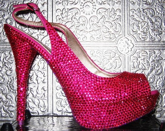 slingback open toe platform heels with crystal rhinestones and glittered soles
