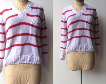 Vintage 1980s Sweater / Women's Striped Slouch Sweater / large