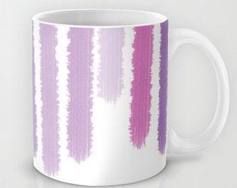 Purple Striped Mug -  Coffee Mug - Shades of Purple - 11 oz Mugs - 15 oz Mugs - Coffee Cup - Made to Order