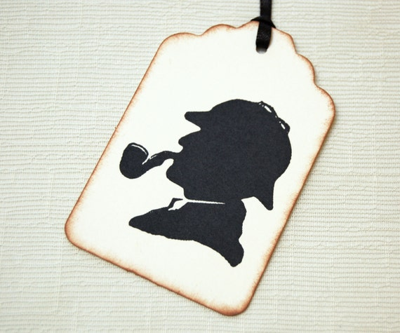 Sherlock Holmes Gift Tags -Set of 6 (black silhouette w/ deerstalker hat, and pipe) Sherlock Fans/ Mystery Party Theme