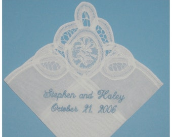 "Bridal Wedding Gift Handkerchief, Belgian Lace ""Wedding Bells"" Handkerchief, with Bride and Groom's Names and Wedding Date, Free Shipping"