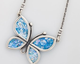Butterfly-Woman 925 Sterling Silver Ancient Roman Glass Necklace Original Gift