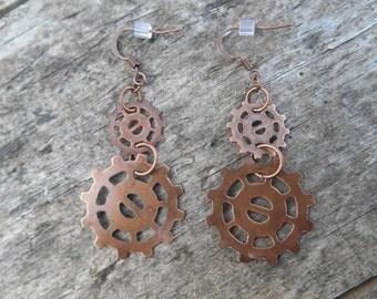 """Earrings - Copper Gear Dangle Earrings 1 5/8"""" Long Steampunk, Industrial"""