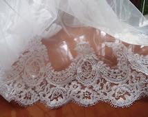 white alencon trim, cord lace, bridal lace trim, veil trim lace  CG063DB