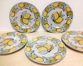 Set of five (5) V. Pinto Vietri sul Mare, ceramic salad plates hand painted, Lemon , Italy