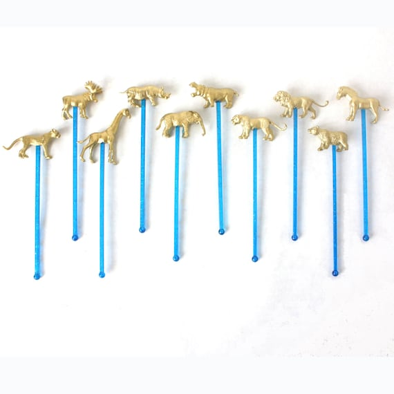 Delightful Gold Wild Animal Drink Stirrers, Swizzle Stick, Wedding Cocktail Decor- Set of 10 on Blue