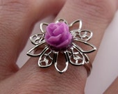 Filigree Ring - Violet Purple Rose, Platinum-plated