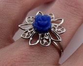 Filigree Ring - Blue Rose, Platinum-plated
