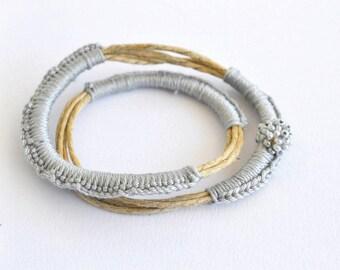 Eco friendly simple bracelet- elegant grey bracelet - boho jewelry- beaded bangle- gift under 20- minimal summer bracelet