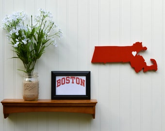 "Boston University Terriers ""State Heart"" wall art, handcrafted wood featuring official team colors"