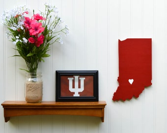 "Indiana Hoosiers ""State Heart"" wall art, handcrafted wood with official team colors"