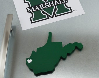 "Marshall Thundering Herd ""State Heart"" Magnet, handcrafted wood with official team colors"