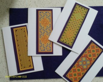 set of 4 celtic note cards, celtic stationery, celtic cards, Irish note cards, Irish greeting cards, blank Irish note cards,