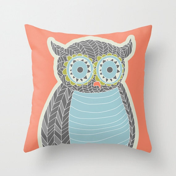 Owl Throw Pillow Covers : Items similar to Throw Pillow Cover - Owl Design - Insert Optional on Etsy