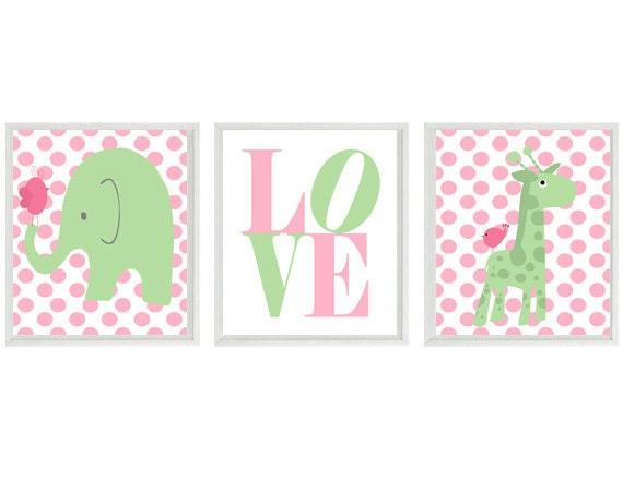 Nursery art elephant giraffe birds polka dot baby girl for Baby girl nursery lighting