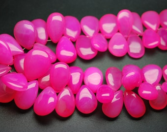 7 Inches Strand -Pink Chalcedony Smooth Polished Pear Briolettes, Size 17-12mm Approx