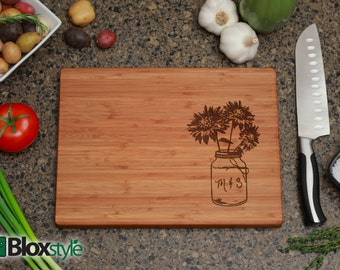Personalized/ Engraved Cutting Board w/ Mason Jar SUNFLOWER Design, Personalized Wedding Gift,Custom Cutting Board, Wedding Gifts