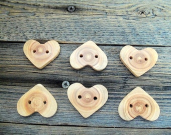 Wood Buttons - 6 Handmade Wood Heart Buttons-6 Heart  White Tree Branch Buttons - 1 3/5 inches diameter.For handbags,totes,knitting,crochet.