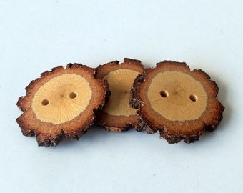 Wood Buttons - Branch Buttons - Slim Handmade Wood Buttons-3  Handmade Blackjack Tree branch buttons with the bark-1 3/5 inches diameter.