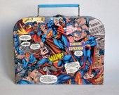 Superman Lunchbox style tote from upcycled comics
