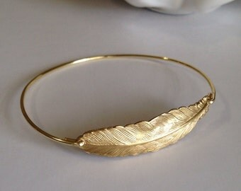 Feather bangle, feather, feather bracelet, feather jewelry, wing bangle, quill bangle, large feather bangle