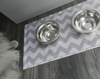 Kip Pet Food Mat- Gray Chevron- Small- Laminated Cotton