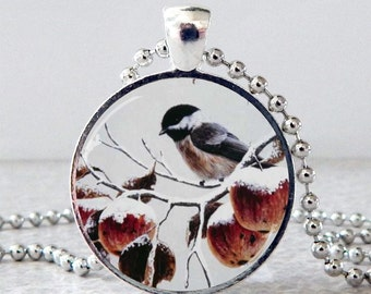 Chickadee Necklace, Chickadee Pendant, Chickadee Jewelry, Bird Necklace, Bird Pendant, Bird Jewelry,  Christmas gift