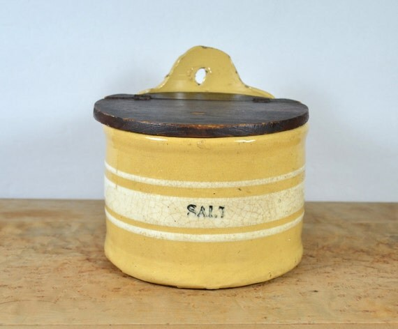Antique Yellow Ware Salt Crock W Wooden Lid Thick Yellow
