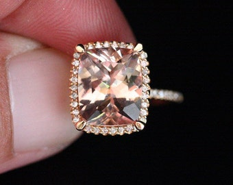 Cushion Morganite Engagement Ring Diamond Halo Ring in 14k Rose Gold with Morganite Cushion 11x9mm and Diamond Halo Ring