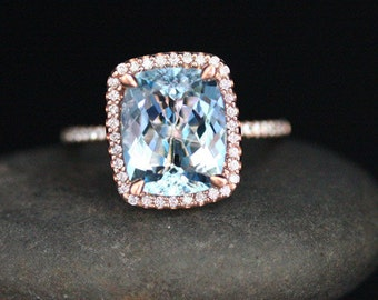 Natural Aquamarine and Diamond Engagement Ring in 14k Rose Gold Ring with Aquamarine Cushion 11x9mm and Diamonds